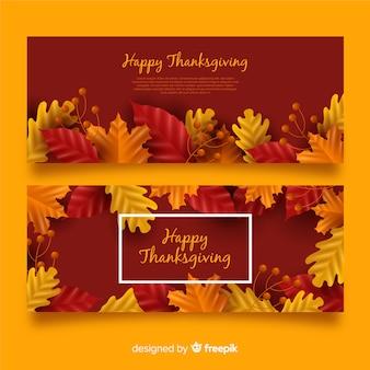 Zestaw realistyczne banery święto dziękczynienia