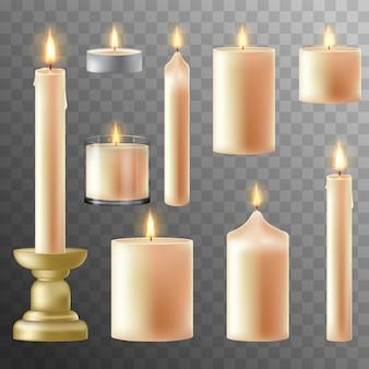 Zestaw realistyczne biała świeca z ogniem na przezroczystym tle. jasne realistyczne romantyczne światło świec