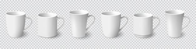 Zestaw realistyczne białe kubki do kawy na białym tle