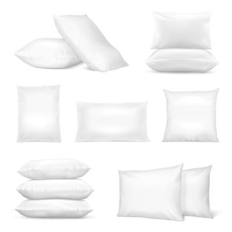 Zestaw realistyczne białe poduszki
