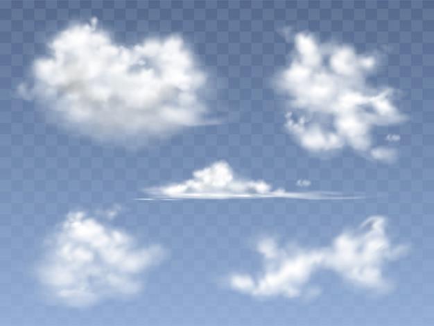 Zestaw realistyczne chmury, ilustracja różnych typów chmur cirrus i cumulus