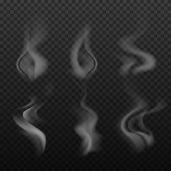 Zestaw realistyczne jasne, dym, fala, para, vape na przezroczystym tle