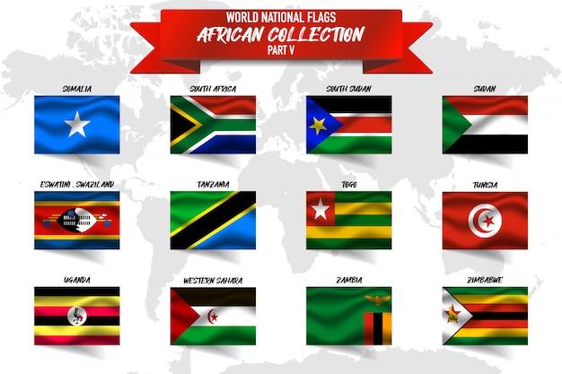Zestaw realistyczne macha flagą narodową krajów afrykańskich na mapie świata. somalia, republika południowej afryki, sudan, zambia, zimbabwe i inne