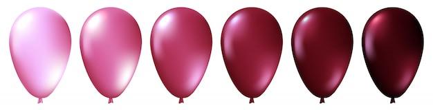 Zestaw realistyczne monochromatyczne na białym tle różowe balony. wektor