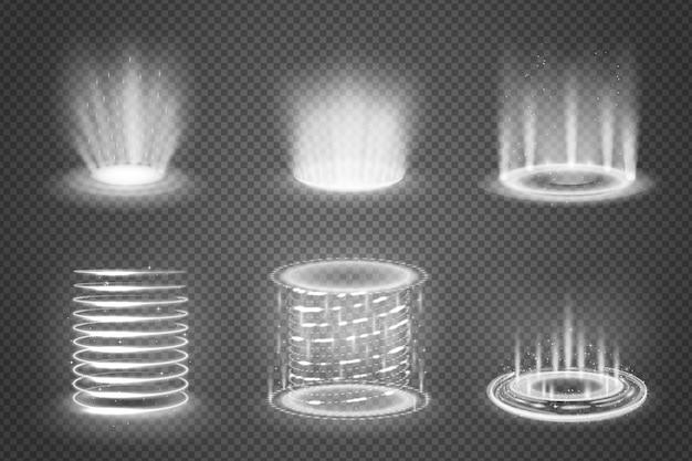 Zestaw realistyczne monochromatyczne portale magiczne z efektami świetlnymi na przezroczystym tle na białym tle ilustracji