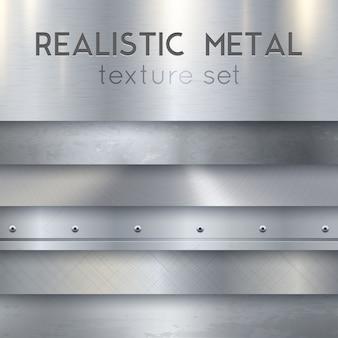 Zestaw realistyczne poziome próbki tekstury metalu