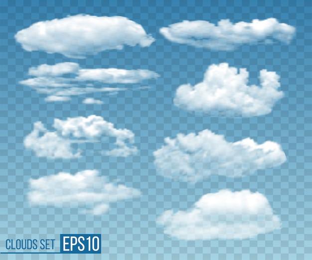 Zestaw realistyczne przezroczyste chmury w błękitne niebo