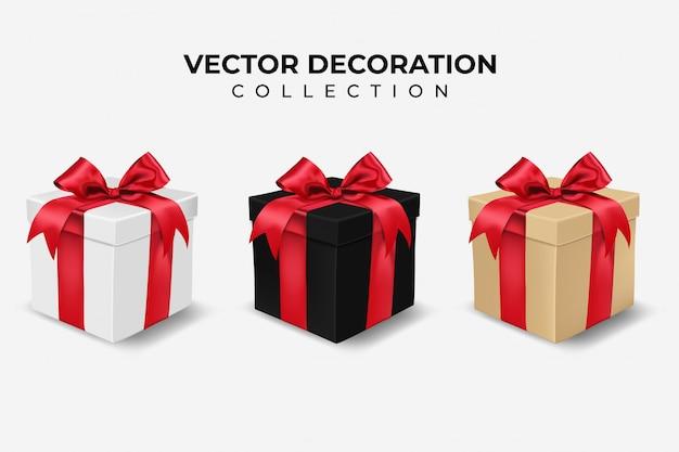 Zestaw realistyczne pudełko z czerwoną kokardą. kolor biały, czarny i brązowy