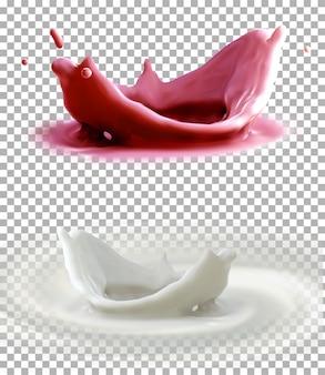 Zestaw realistyczne rozpryski mleka na białym tle na szarym tle.