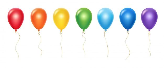 Zestaw realistyczne tęczowe balony. balony z faborkami odizolowywającymi na białym tle