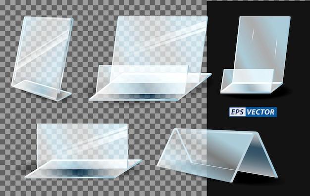 Zestaw realistycznego akrylowego pustego przezroczystego plastiku lub stojaka akrylowego na baner lub papier do menu
