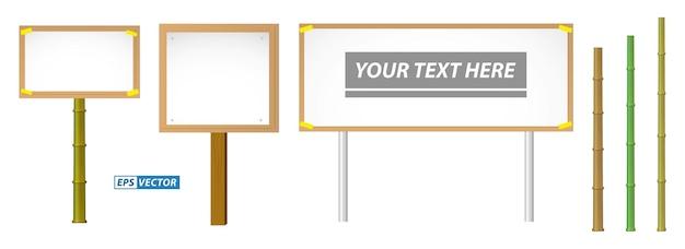 Zestaw realistycznego banera makiety na drewnianym kiju na białym tle lub demonstracyjnego transparentu protestacyjnego