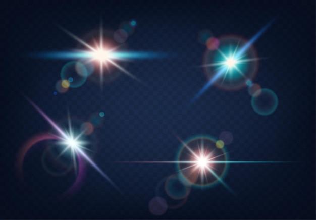 Zestaw realistycznego blasku światła, podkreślenia z niewyraźnym efektem bokeh na niebieskim tle. kolekcja pięknych jasnych flar obiektywu. realistyczne efekty świetlne lampy błyskowej. ilustracja wektorowa