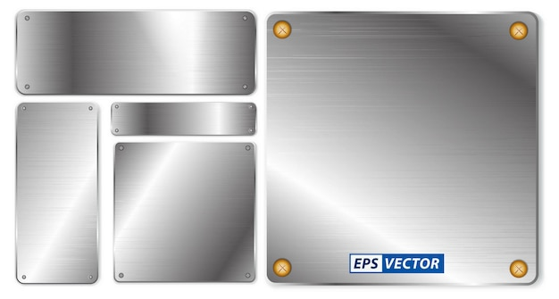 Zestaw realistycznego błyszczącego metalu izolowanego lub o różnych kształtach szczotkowanej stali stopowej lub polerowanej stalowej płyty