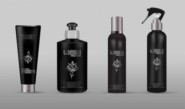 Zestaw realistycznego czarnego opakowania luksusowego produktu kosmetycznego.