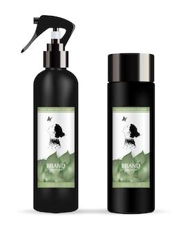 Zestaw realistycznego czarnego opakowania produktu kosmetycznego: