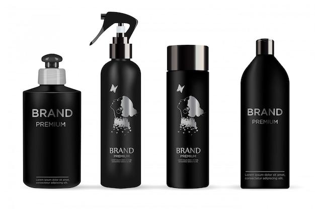 Zestaw realistycznego czarnego opakowania produktu kosmetycznego
