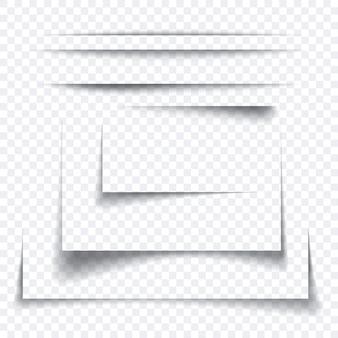 Zestaw realistycznego efektu cienia arkusza papieru, przezroczysty element graficzny