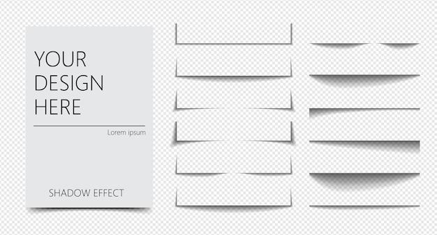 Zestaw realistycznego efektu cienia o różnych kształtach separacji strony