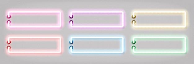 Zestaw realistycznego izolowanego neonu z kolorową ramką na szablon zaproszenia i układ przestrzeni kopii