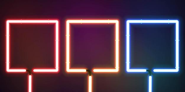 Zestaw realistycznego izolowanego neonu z kwadratową ramką dla szablonu zaproszenia i układu przestrzeni kopii.