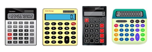 Zestaw realistycznego kalkulatora księgowości biznesowej na białym tle lub kalkulatora do narzędzia pracy finansów