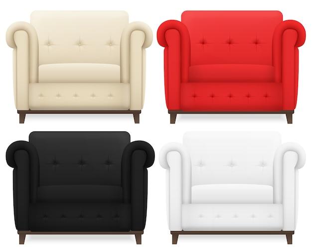 Zestaw realistycznego kremowego koloru, czerwonego, czarno-białego rocznika przytulnego miękkiego krzesła domowego