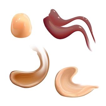 Zestaw realistycznego kremu kosmetycznego rozmazuje tonik do skóry o różnych kolorach ciała balsam gładkie rozmazywanie