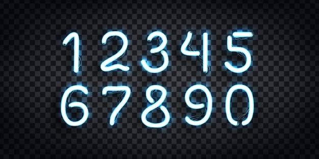 Zestaw realistycznego neonowego znaku logo numbers do dekoracji szablonu i pokrycia układu na przezroczystym tle.