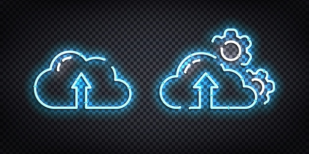 Zestaw realistycznego neonu chmury przechowywania danych do dekoracji i pokrycia na przezroczystym tle. pojęcie komputera, elektroniki i technologii.