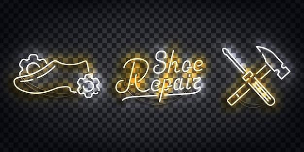 Zestaw realistycznego neonu logo naprawy obuwia do dekoracji szablonu i pokrycia układu na przezroczystym tle.