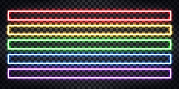 Zestaw realistycznego neonu z kolorowej panoramicznej ramki prostokątnej dla szablonu i układu na przezroczystym tle.