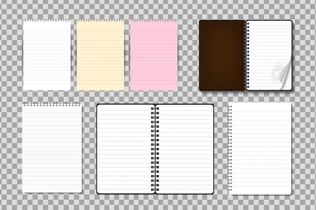 Zestaw realistycznego notatnika na przezroczystym tle. realistyczny papierowy szablon makiety do pokrywania, brandingu, identyfikacji wizualnej i reklamy.