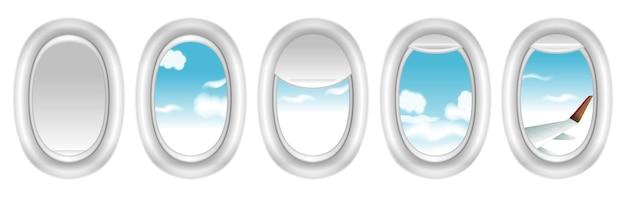 Zestaw realistycznego okna samolotu lub podróży podróżnika turystycznego lub makiety kabiny samolotu z zasłoną