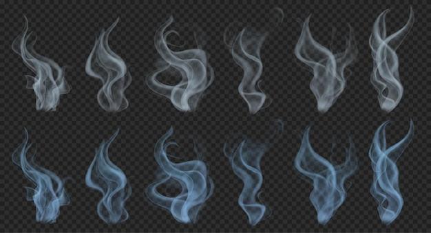 Zestaw realistycznego półprzezroczystego dymu lub pary w szarych i jasnoniebieskich kolorach na przezroczystym
