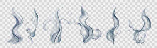 Zestaw realistycznego przezroczystego dymu lub pary w jasnoniebieskich kolorach