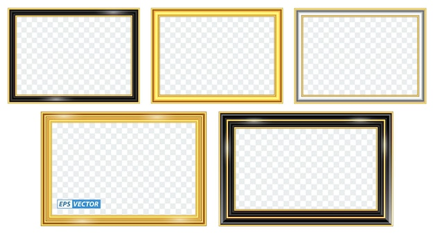 Zestaw realistycznego szablonu złotej ramki na białym tle lub złotej drewnianej ramie w stylu retro lub vintage gold photo