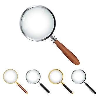 Zestaw realistycznego wektora projektowania szkła powiększającego