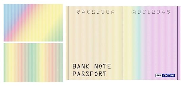 Zestaw realistycznego wzoru banknotu ze znakiem wodnym na białym tle lub wzoru tekstury dla bezpiecznej tęczy paszportowej