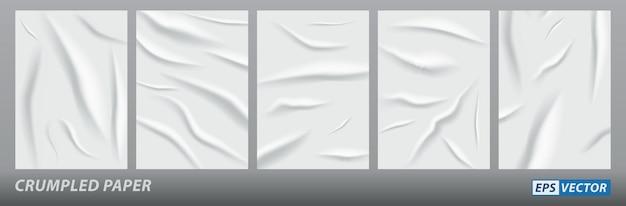 Zestaw realistycznego zmiętego papieru plakat na białym tle lub grunge tapety w wieku arkusza