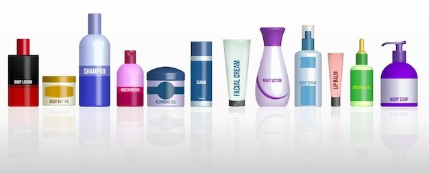 Zestaw realistycznej butelki kosmetycznej izolowanej lub opakowania kosmetycznego białego makiety