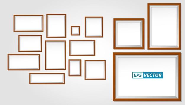 Zestaw realistycznej drewnianej ramki lub pustego szablonu ramek na zdjęcia lub makiety pustej ramki na zdjęcia brązowy tekst