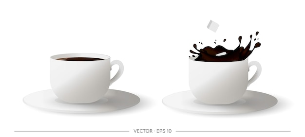 Zestaw realistycznej filiżanki kawy. kostka cukru wpadająca do filiżanki kawy.