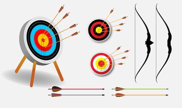 Zestaw realistycznej koncepcji strzałki docelowej izolowanej lub celu tarczy do rzutek lub celu łuczniczego;