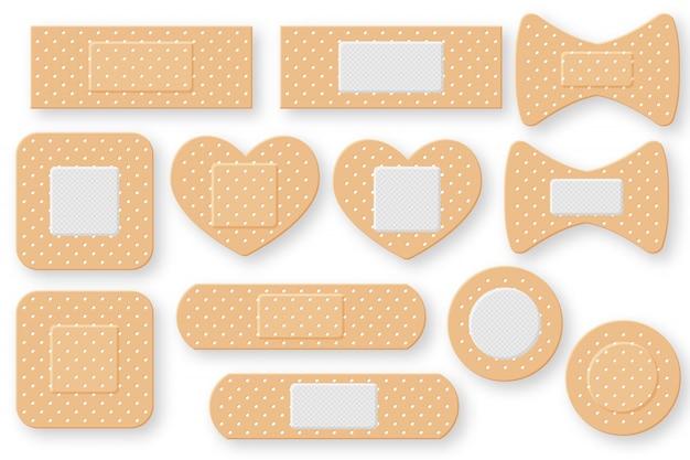 Zestaw realistycznej taśmy gipsowej pierwszej pomocy. elastyczna naszywka z bandażem. ilustracja na białym tle.