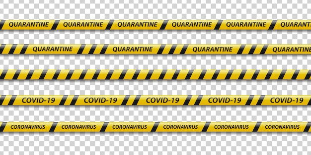 Zestaw realistycznej taśmy ostrzegawczej kwarantanny z żółtymi i czarnymi paskami do dekoracji na przezroczystym tle. pojęcie środków ostrożności w przypadku pandemii.