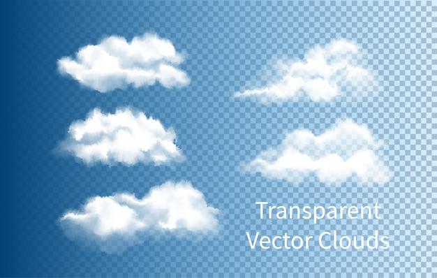 Zestaw realistyczny chmura na przezroczystym tle