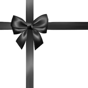 Zestaw realistyczny czarny łuk z czarną wstążką. element do dekoracji prezentów, pozdrowienia, święta, walentynki.