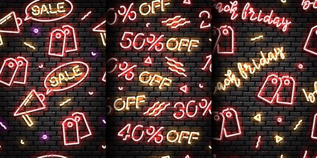 Zestaw realistyczny izolowany neon znak bez szwu z black friday
