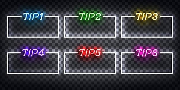 Zestaw realistyczny izolowany neon znak ramki porady
